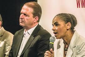 O presidente do PSB Eduardo Campos (PE), e a ex-ministra Marina Silva